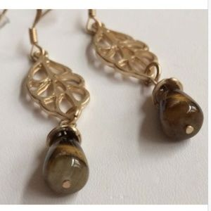 PURE Jewelry - Gold Tiger Eye Stone Earrings Brown Stone Leaf